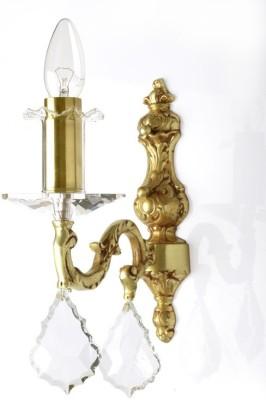 Fos Lighting Crystal & Brass Single Candle Night Lamp