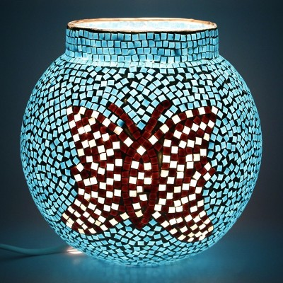 EarthenMetal Handcrafted Butterfly Design Blue Coloured Mosaic Decorated Circular Glass Table Lamp