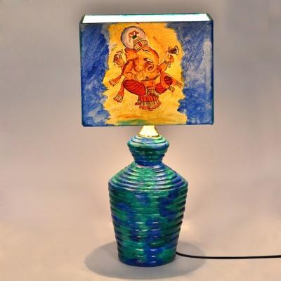 ExclusiveLane 15 Inch Ganesha Handpainted Rectangular Shade Table Lamp