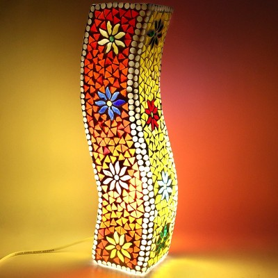 EarthenMetal Handcrafted Colourful Mosaic Design Curvy Glass Table Lamp