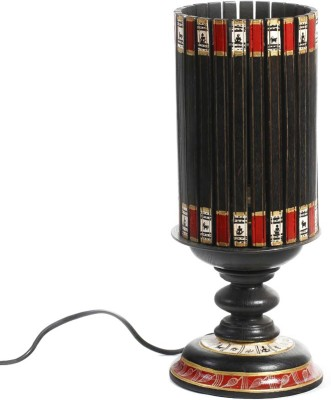 Aapno Rajasthan Black Terracotta Hand Painted With Wood Base Table Lamp