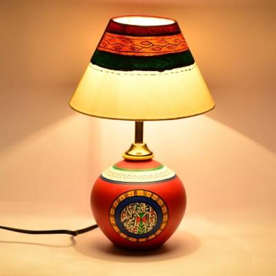 ExclusiveLane Warli Handpainted With Matki Base Table Lamp