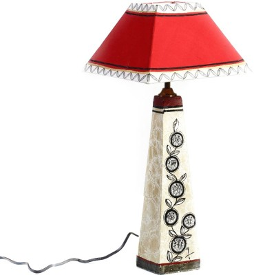Aapno Rajasthan Red Paper Lamp With Hand Painted Terracotta Base Table Lamp