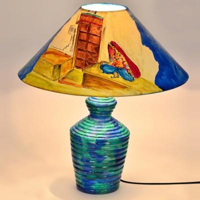 ExclusiveLane 15 Inch Hanpainted Ethnic Ladies Table Lamp
