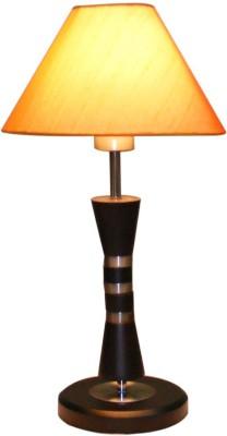 Diya Designs Wooden Brown with Orange Shade Table Lamp
