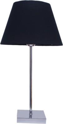 Diya Designs Silver Chrome Finish with Clear Black Shade Table Lamp