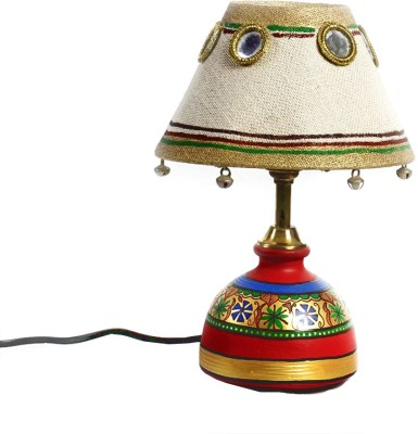 Aapno Rajasthan Jute Fabric Shade And Terracotta With Bells And Mirrors Table Lamp