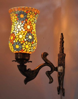 Gojeeva Antiquefinish Aluminium Base 1 Class With Mosaic Work Night Lamp