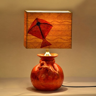 ExclusiveLane 13 Inch Terracotta Potli Lamp With Handpainted Kite Shade Table Lamp