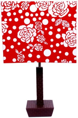 Diya Designs Leather Finish with Square Red & White Table Lamp