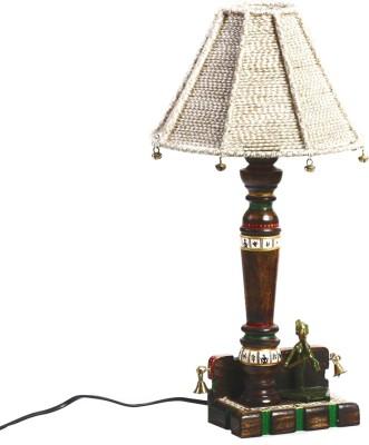 Aapno Rajasthan Tribal Art Work Wood Base With Jute Cord Shade Table Lamp