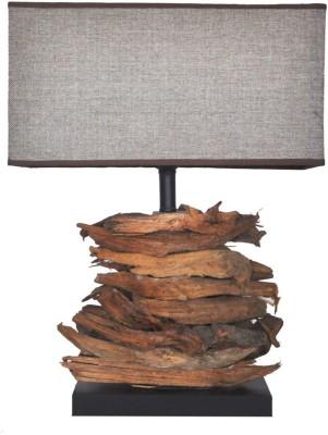 Scrafts Square Log Design Wooden Table Lamp
