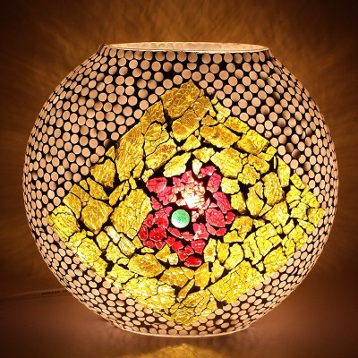 EarthenMetal Handcrafted Mosaic Decorated Circular Glass Table Lamp