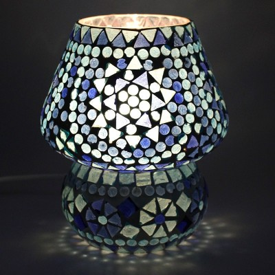 EarthenMetal Handcrafted Blue Coloured Crystal Dome Shaped Glass (17 cm height) Table Lamp