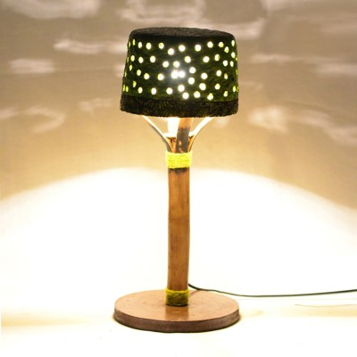 ExclusiveLane 16 Inch Papier Mache Perforated Tree With Henna Work Table Lamp