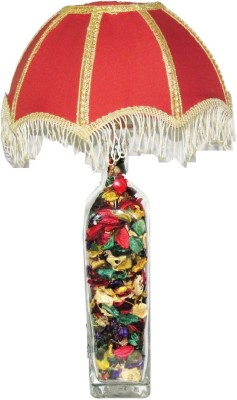 Aadhya Creations GL Color Leafy Red Umbrella Table Lamp