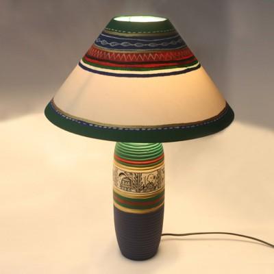 ExclusiveLane 18 Inch Madhubani Handpainted Tapered Table Lamp