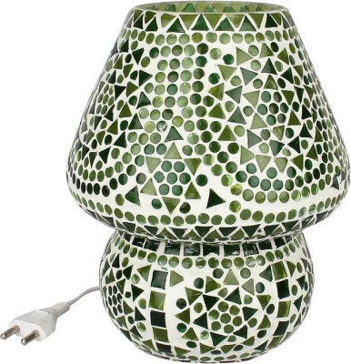 EarthenMetal Handcrafted Green Coloured Crystal Dome Shaped Glass Table Lamp