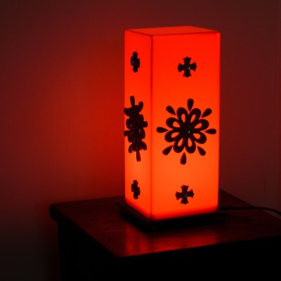 eCraftIndia Floral Wooden Block Table Lamp