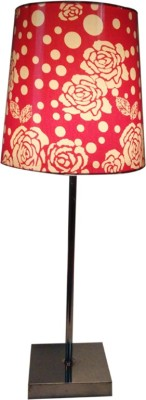 Diya Designs Silver Chrome Finsh with Dimmer and Red & White Shade Table Lamp