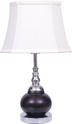 Diya Designs Brown Chrome Finish with off White Shade Table Lamp