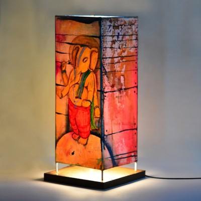 ExclusiveLane 15 Inch Canvas Handpainted Standing Bal Ganesha Table Lamp