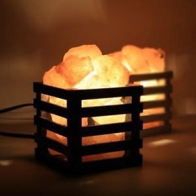 The Himalayan Salt Wooden Basket Cane Shape Table Lamp