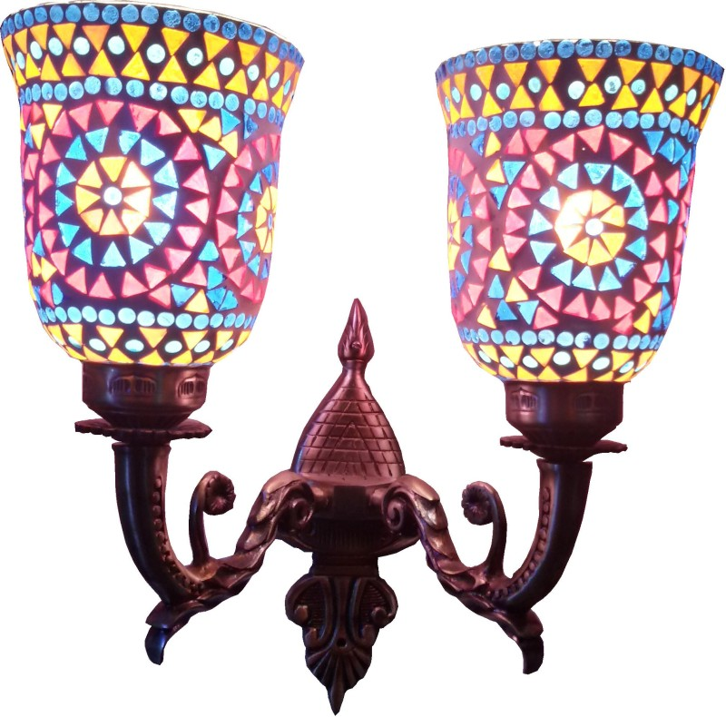Weldecor Antiqua Brasso Floral Stars Night Lamp(37 cm, Multicolor)