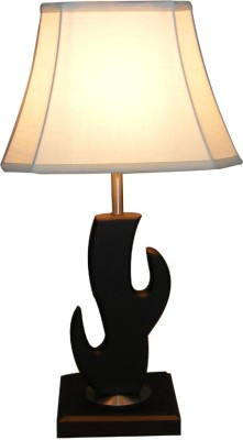 Diya Designs Wooden Brown with Off White Shade Table Lamp