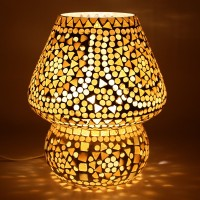 EarthenMetal Handcrafted Almond Brown Coloured Crystal Dome Shaped Glass Table Lamp(17 cm, Brown, White)