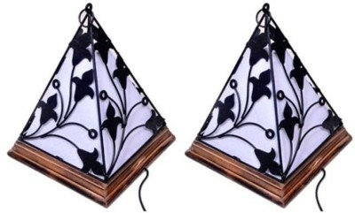 Onlineshoppee Wooden & Wrought Iron Lamp Pack of 2 Table Lamp