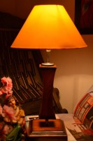 Yashasvi Yashasvi Wooden Lamp With Yellow Shade Table Lamp(45 cm, Yellow)