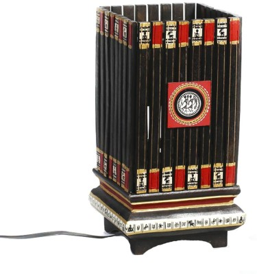 Aapno Rajasthan Square Terracotta With A Wood Base And Painted Motifs Table Lamp