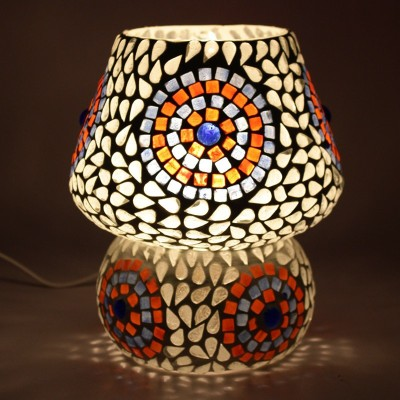EarthenMetal Handcrafted Natural Coloured Crystal Decorated Dome Shaped Glass Table Lamp