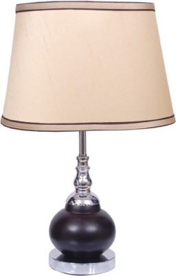 Diya Designs Brown Chrome Finish with Golden Shade Table Lamp