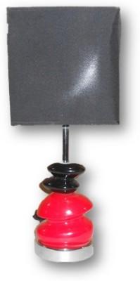 Sudesh Decor Red & Black Art Design Shiny Black Shade Table Lamp Table Lamp