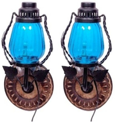 Onlineshoppee Wooden & Iron Wall Hanging Electric Lamp Table Lamp