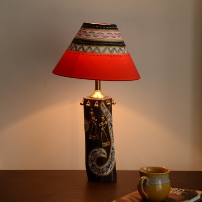 Unravel India Wooden Dhokra Rustic Log Table Lamp