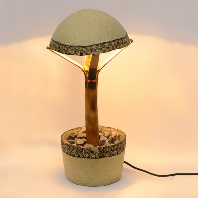 ExclusiveLane 15 Inch Paper Machie With Henna Work Table Lamp