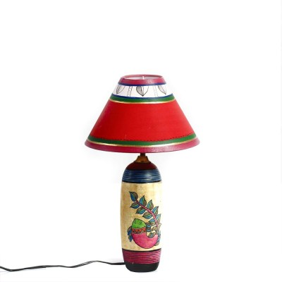 Aapno Rajasthan Hand Painted Terracotta Base With Painted Shade In Red Table Lamp