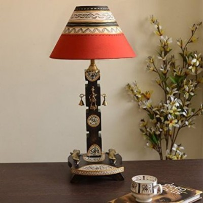 Unravel India Dhokra And Warli Wooden Table Lamp