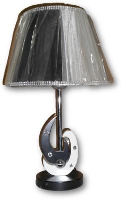 Sudesh Decor Black & white stone integrated vintage base with shiny black & silver table lamp Night Lamp