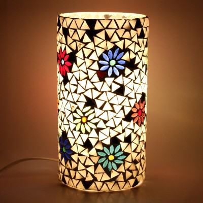 EarthenMetal Handcrafted Cylindrical Shaped White Coloured Mosaic Decorated Glass Table Lamp