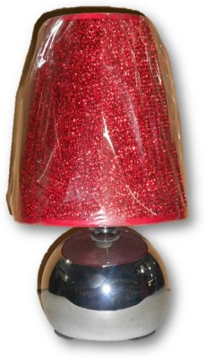 Sudesh Decor Shiny Silver Lamp & Designer Red Shade Table Lamp Table Lamp