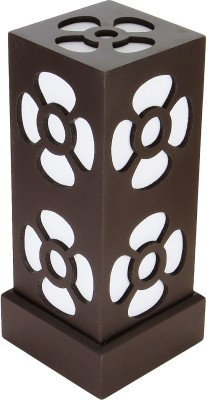 WhiteRay Wooden Square Flower Cut Design Brown Table Lamp
