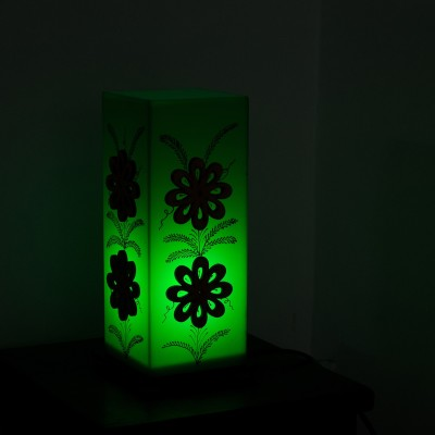 eCraftIndia Floral Wooden Block Leaf Design Table Lamp