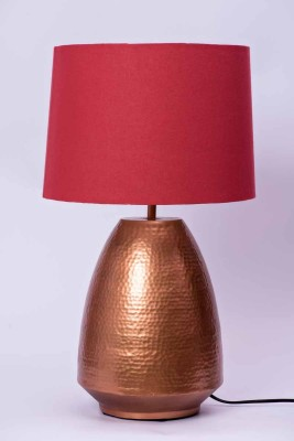 COURTYARDS Stupa Lamp Table In Copper Base With Red Shade Table Lamp
