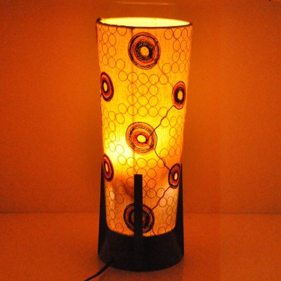 Hashcart Sheesham Wood Round with Colorful Shade Table Lamp