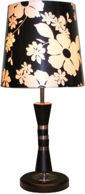 Diya Designs Wooden Brown with Printed Black Shade Table Lamp