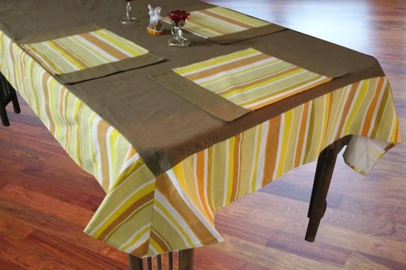 Dekor World Yellow Organic Cotton Table Linen Set(Pack of 9)